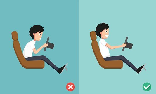 Good and bad driving posture